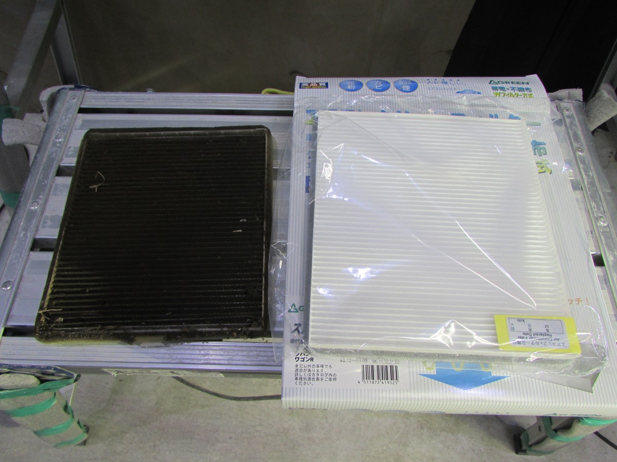 車内クリーニング エアコンフィルター交換 タバコのヤニ汚れ